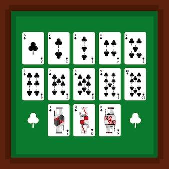 Satz spielkarten des pokers der clubklage auf grüner tabelle