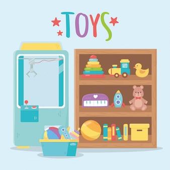 Satz spielzeug für kinder im kinderzimmer