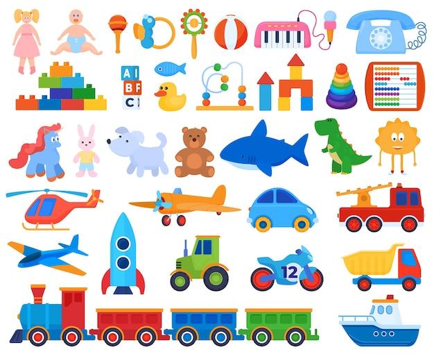 Satz spielzeug. kinderspiele. stofftiere, autos, puppen.