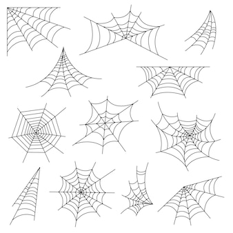 Satz spinnennetz und halloween-spinnennetzdekoration