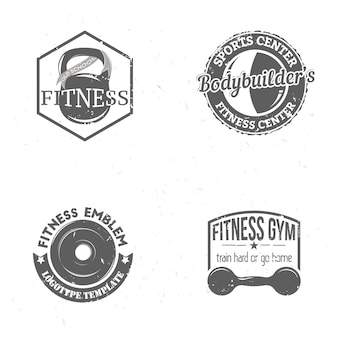 Satz sport-fitness-etiketten im vintage-stil mit kettlebell, langhantel und hantel