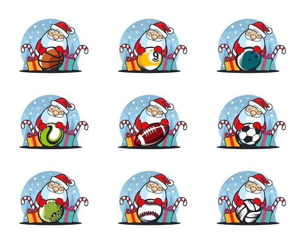 Satz sportball-weihnachtsmotivlogo