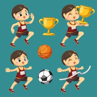 Satz sportler mit basketball und fußball mit trophäe in zeichentrickfigur, isolierte flache illustration der differenzaktion