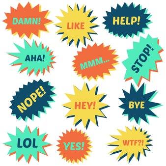 Satz sprechblasen auf weißem hintergrund mit verschiedenen aufschriften in der mitte. sprechblasen mit kurzen sätzen. vektor-illustration.