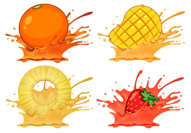 Satz spritzenfruchtsaft