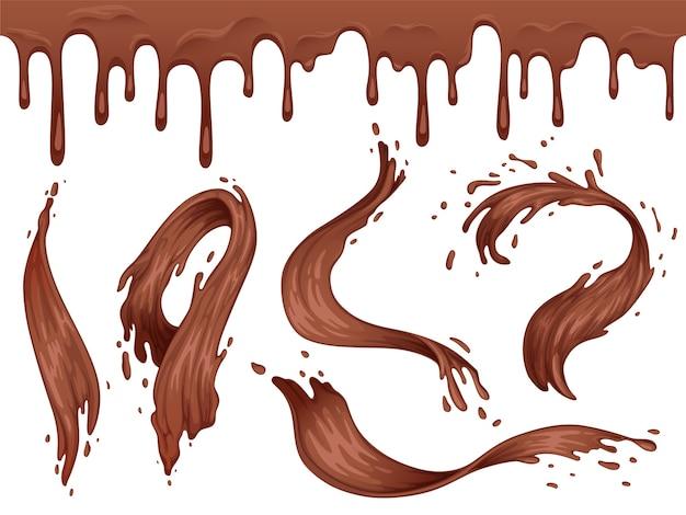 Satz spritzer und wellen von flüssiger heißer schokolade. schokoladen nahtlose grenze. auf einem weißen hintergrund isoliert.