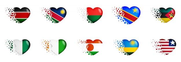 Satz staatsflaggen von afrika-land in der herzillustration. die nationalflaggen fliegen kleine herzen aus