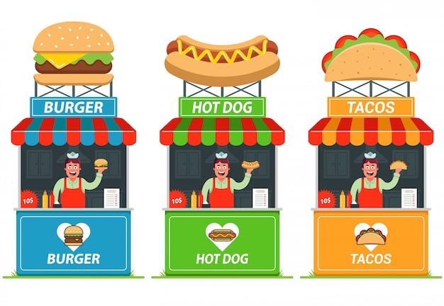Satz stände mit fast food. fröhlicher verkäufer am kiosk. flache illustration.