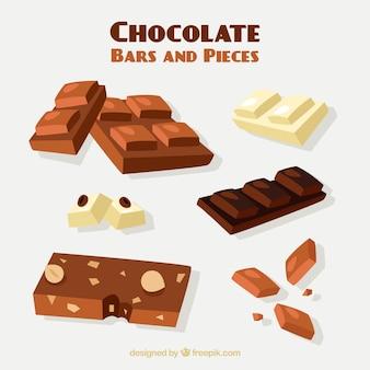 Satz stangen und stücke mit verschiedenen schokoladen