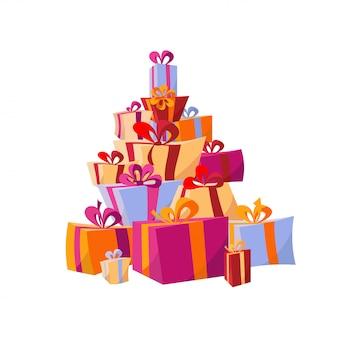 Satz stapel von bunten geschenkboxen. berg geschenke. schöner geschenkkarton mit bögen