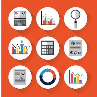Satz statistikdatenwerkzeuge finanzieren diagramm- und grafikdiagrammgeschäft