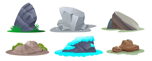 Satz steine im karikaturstil. steine in verschiedenen formen und größen
