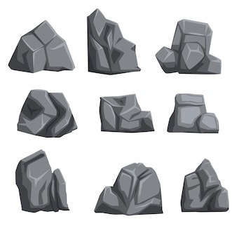 Satz steine mit lichtern und schatten. felslandschaftselemente in verschiedenen formen und grautönen. auf weiß