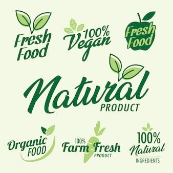 Satz stempelbeschriftung für bio- und naturprodukt