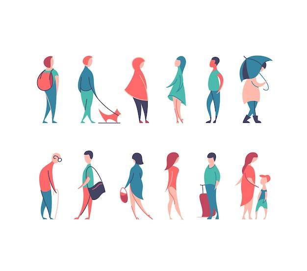 Satz stilisierter personenfiguren, flache linie und farbe männer und frauen in verschiedenen posen.