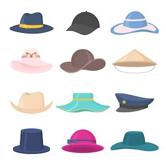 Satz stilvolle herren- und damenkopfbedeckungen verschiedener arten - hüte, mützen, kepi lokalisiert auf weißem hintergrund. hut, mütze kopfbedeckungen für damen und herren. sammlung von modeaccessoires. .
