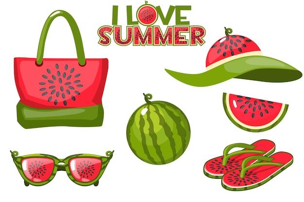 Satz strandobjekte aus wassermelone und sommerelementen. strandtasche, gläser, wassermelone, hut und flip flops.