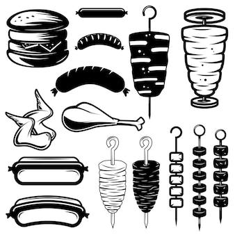 Satz straßenlebensmittelelemente. burger, hot dog, kebab, hühnerflügel, grill. gestaltungselement für logo, etikett, emblem, zeichen. illustration