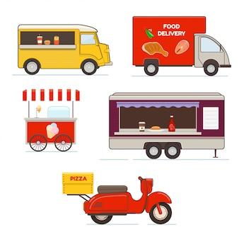 Satz straßenlebensmitteltransport. lebensmittellieferfahrzeuge, mobiler imbisswagenanhänger und pizzaboten