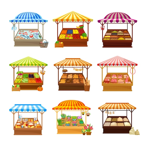 Satz straßenmarktstände lokalisiert auf weiß