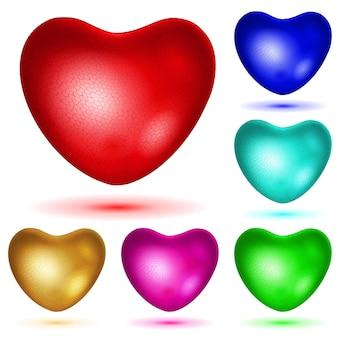 Satz strukturierte herzen in verschiedenen farben