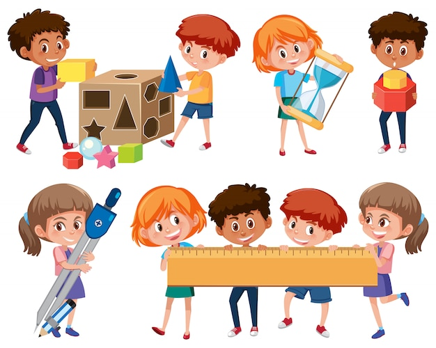 Satz studenten, die mathehilfsmittel lernen