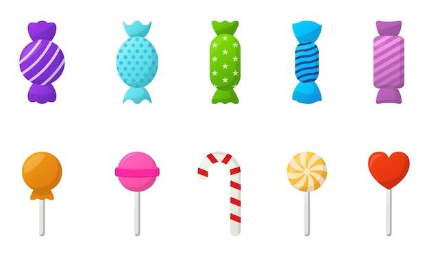 Satz süße bunte leckere süßigkeiten illustration