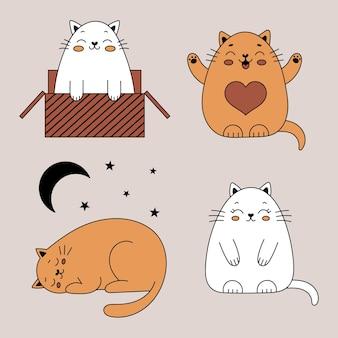 Satz süße doodle-katzen. lustige katzen in einer kiste. vektorillustration mit haustieren