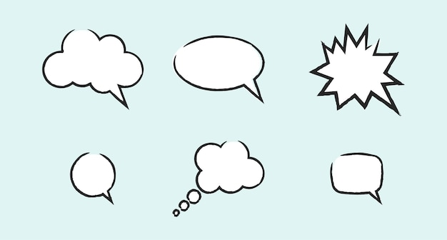Satz süße doodle leere sprechblasen premium-vektor