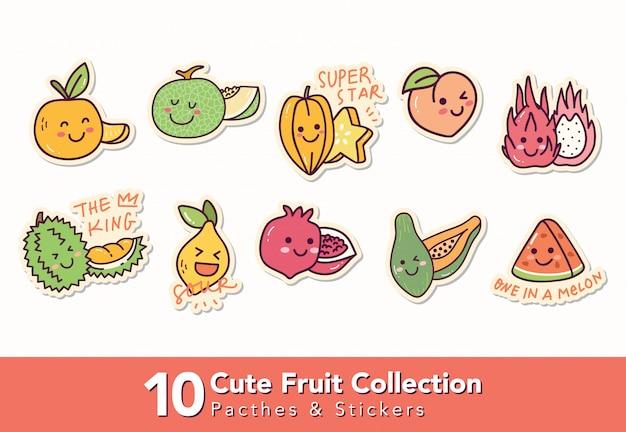 Satz süße fruchtflecken und aufkleber