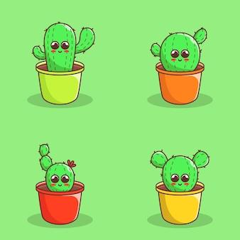 Satz süße kaktuspflanzenillustration