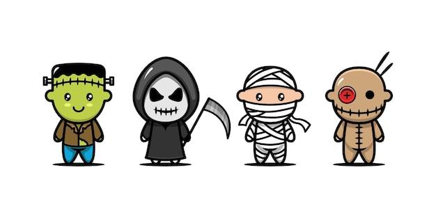 Satz süße kinder mit halloween-kostümdesign-ikonenillustration