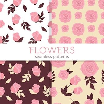 Satz süße nahtlose muster mit rosa rosen und knospen schönes frühlingsblumen-verpackungsdesign