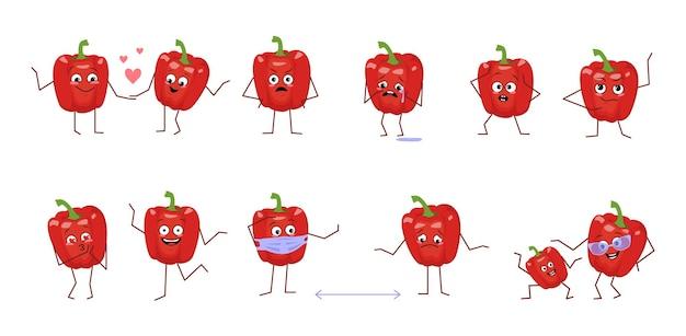 Satz süße paprikafiguren mit verschiedenen emotionen isoliert auf weißem hintergrund. die lustigen oder traurigen helden, rotes gemüse haben spiel, verlieben sich, halten abstand. flache vektorgrafik