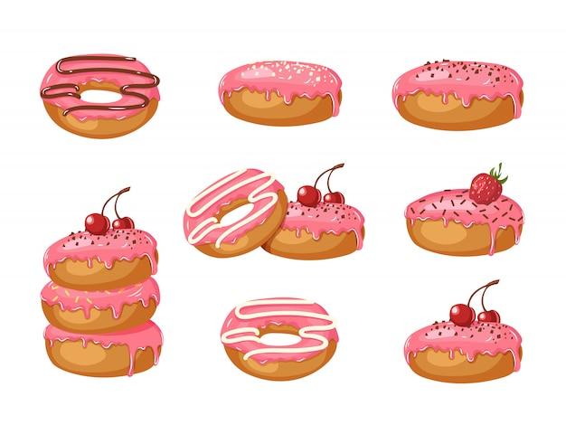Satz süße rosa glasierte donuts mit pulver, kirschen, erdbeeren und schokoladencreme lokalisiert auf weiß. food design. illustration für feiertage, geburtstage, fahnen, muster.