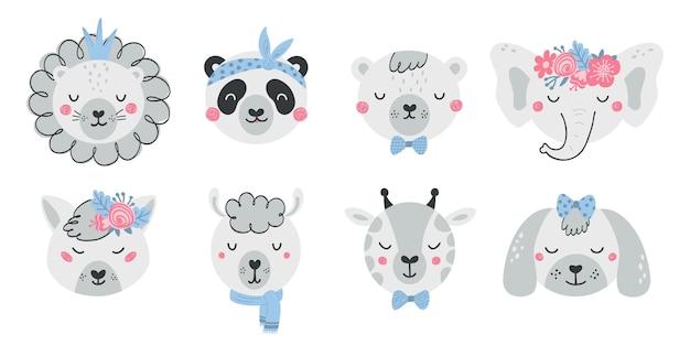 Satz süße tiergesichter und blumen im flachen stil. sammlung von charakteren löwe, panda, bär, elefant, fuchs, hund. illustrationstiere für kinder lokalisiert auf weißem hintergrund. vektor