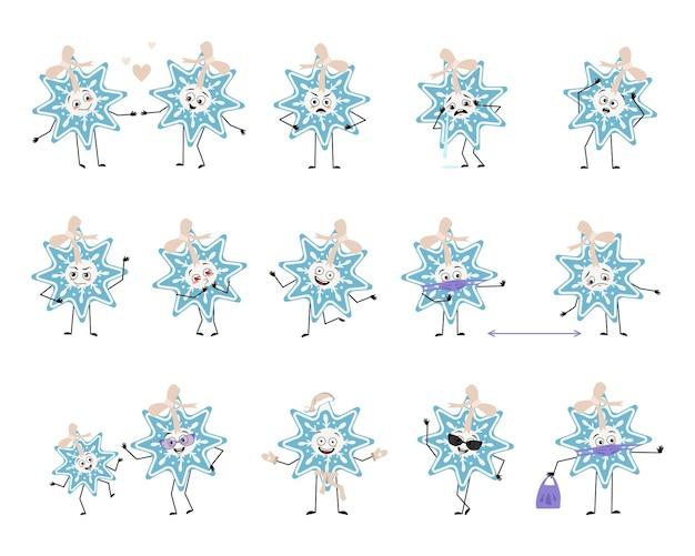 Satz süßer weihnachtsschneeflocke-charakter mit emotionen, gesicht, armen und beinen, fröhlich oder traurig, festlich ...