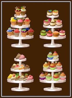 Satz süßigkeiten auf tellern. vektorillustration