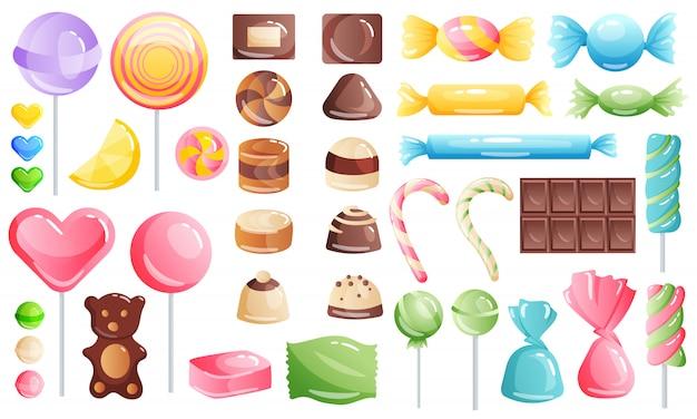 Satz süßigkeiten auf weiß