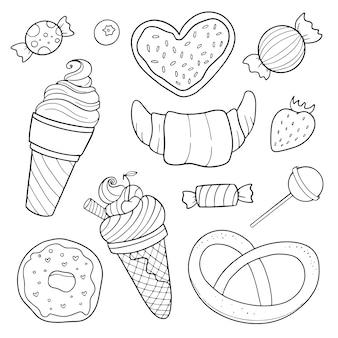 Satz süßigkeiten, schwarz und weiß