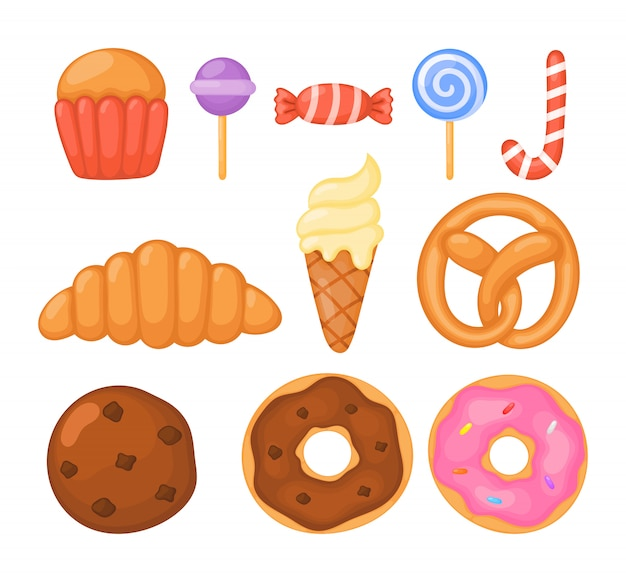 Satz süßigkeiten und bonbons lokalisiert