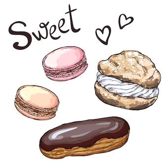 Satz süßwaren. hand gezeichnete illustration