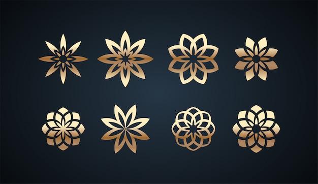 Satz swirl ornament-logo-vorlage mit goldenen farbeffekten
