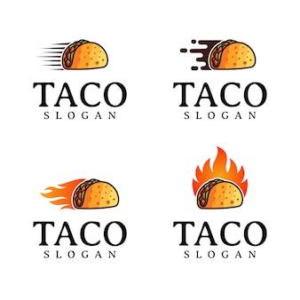 Satz taco logo design vorlage Premium Vektoren
