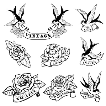 Satz tätowierungsschablonen mit schwalben und rosen. old school tattoo. illustration