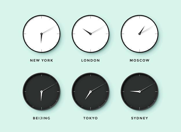 Satz tag- und nachtuhr für zeitzonen verschiedener städte. schwarzweiss-uhr auf einem mentolhintergrund. illustration