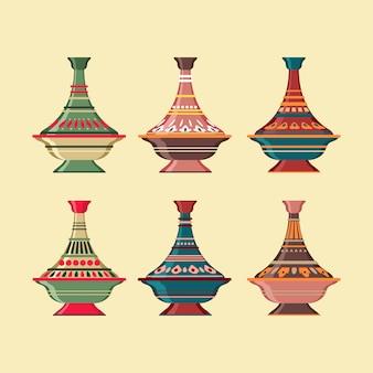 Satz tajine marokkanische indien-keramik-kochgeschirr-sammlung