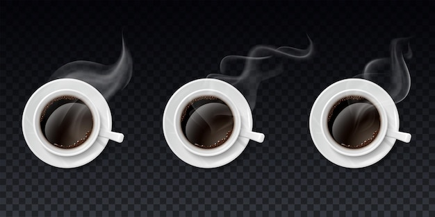 Satz tassen schwarzen kaffees mit dampf