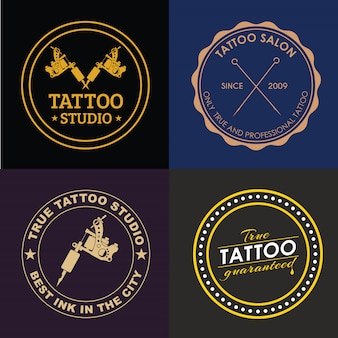 Satz tattoo-studio-logos verschiedener stile