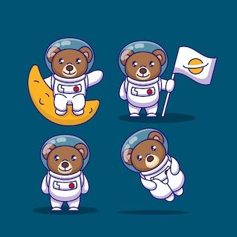 Satz teddybär mit astronautenkostüm